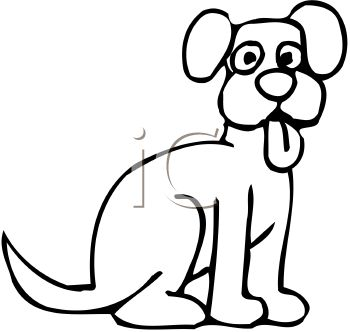 picture of an outline of a cartoon dog with his tongue out in a vector clip art illustration