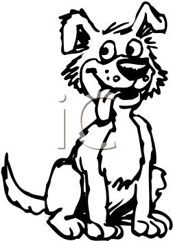 picture of a cartoon dog in black and white sitting with his tongue out in a vector clip art illustration