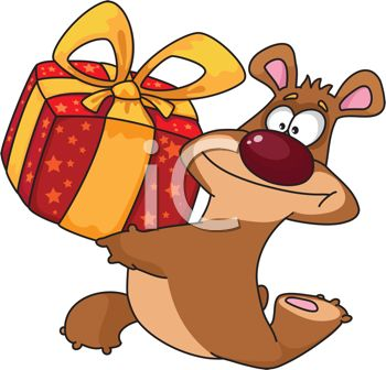 picture of a happy cartoon bear running with a wrapped gift in a vector clip art illustration