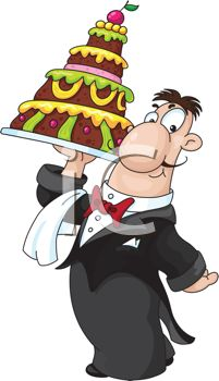 picture of a server holding a 4 layer cake in a vector clip art illustration