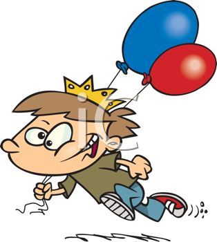 picture of a young boy running with balloons in a vector clip art illustration