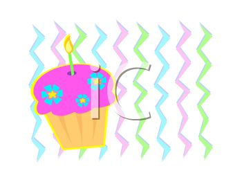 picture of a cupake with one candle in a vector clip art illustration