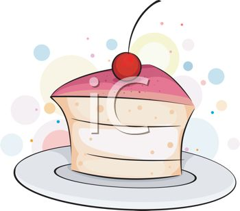 picture of a piece of cake with a cherry on top in a vector clip art illustration