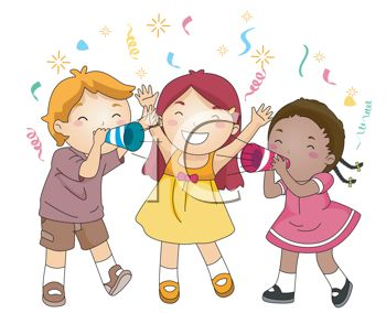 picture of three children celebrating at a party in a vector clip art illustration