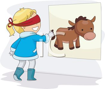 picture of a girl playing pin the tail on the donkey in a vector clip art illustration