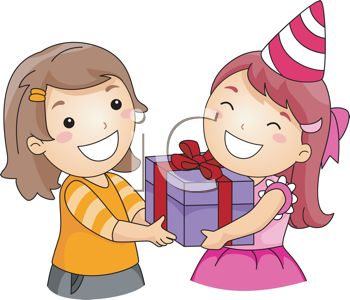 picture of a happy girl receiving a birthday gift from her happy friend in a vector clip art illustration