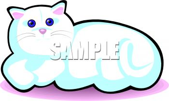 picture of a white cat lying down in a vector clip art illustration