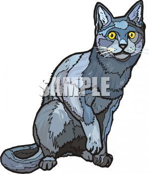 picture of a gray cat preying on something in a vector clip art illustration
