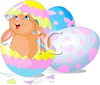 picture of a bunny standing in a cracked open colored easter egg with other easter eggs in a vector clip art illustration