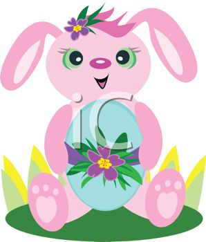 picture of a bunny sitting down holding a decorated easter egg in a vector clip art illustration