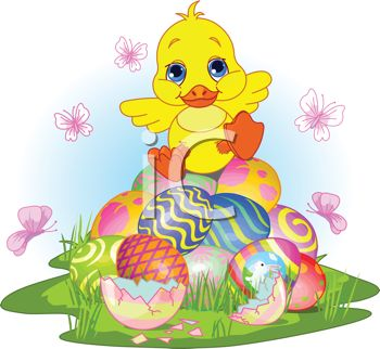picture of a baby chick sitting on top of a pile of easter eggs surrounded by butterflies in a vector clip art illustration