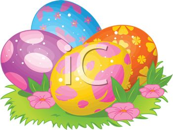 picture of colorful easter eggs in a patch of grass in a vector clip art illustration
