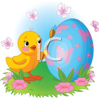 picture of a baby chick painting an easter egg surrounded by butterflies in a vector clip art illustration