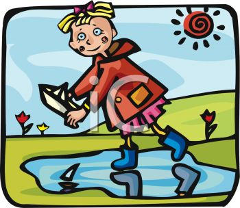 picture of a girl floating paper boats in a mud puddle in a vector clip art illustration