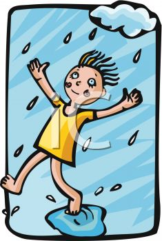 clip art illustration of a girl standing in the rain with her foot in a puddle of water in a vector clip art illustration