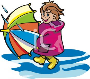 picture of a girl holding an umbrella and walking through a puddle of water in a vector clip art illustration