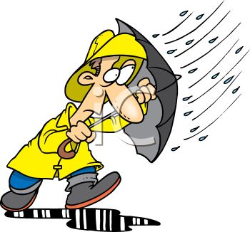 picture of a man wearing a rain suit, holding an umbrella, and walking through a puddle of water in a vector clip art illustration