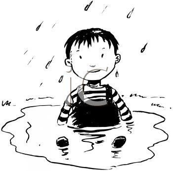 picture of a young boy sitting in a puddle of water in a vector clip art illustration
