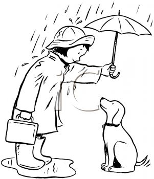 picture of a girl standing in a puddle of water in the rain holding an umbrella over herself and her dog in a vector clip art illustration