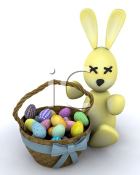 picture of an easter bunny next to a basket of easter eggs in a vector clip art illustration