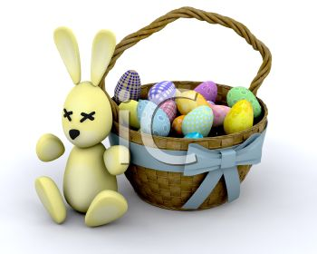 picture of a bunny rabbit next to a basket of colored easter eggs in a vector clip art illustration