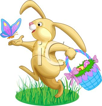 picture of a bunny rabbit skipping through the grass with a butterfly and  holding a basket of easter eggs