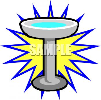 picture of a bird bath with a star background in a vector clip art illustration