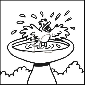 picture of a bird cheerfully taking a bath in a bird bath in a vector clip art illustration