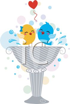 picture of birds in love splashing in a bird bath in  a vector clip art illustration