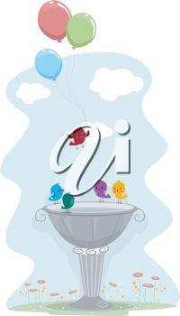 picture of birds having a party in a bird bath in a vector clip art illustration