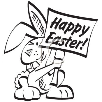 Picture of an easter bunny holding a happy easter sign in a vector clip art illustration