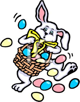 picture of an easter bunny carrying and dropping a basket full of easter eggs in a vector clip art illustration