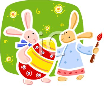 picture of bunny rabbits painting an easter egg in a vector clip art illustration