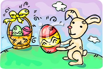 picture of a bunny holding an easter egg with a basket of eggs on the grass in a vector clip art illustration