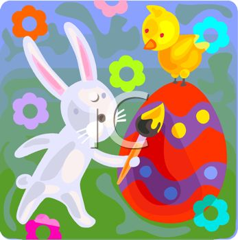 picture of a bunny coloring an easter egg with a bird on top in a vector clip art illustration