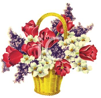 Spring Tulips and Flowers in a Basket
