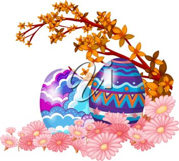 Easter Eggs and Spring Flowers Clipart
