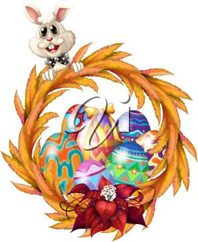 Easter Bunny with Easter Eggs Clipart