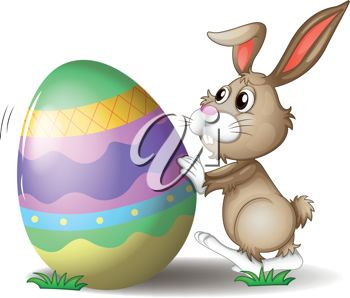 An Easter Egg Being Rolled by the Easter Bunny Clipart