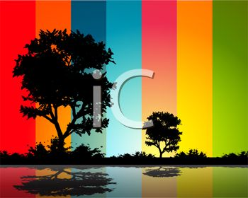 Tree Silhouettes with a Brightly Colored Background