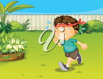 A Boy Jogging in a Garden