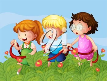 Kids Running Through Flowers in a Field