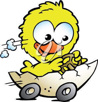 Easter Chick Driving an Egg Cartoon