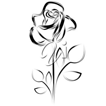 Simple drawing of a single rose.