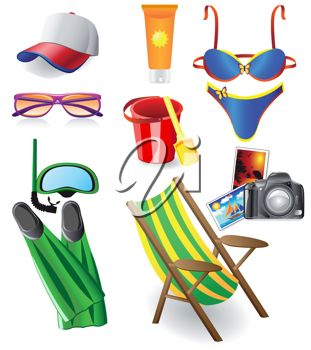 A collection of beach themed objects.
