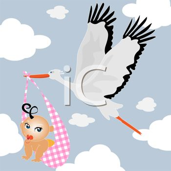 Image of a stork flying through the air carrying a newborn baby.