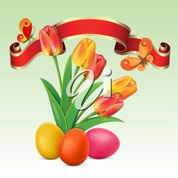 Clipart image of Spring tulips with Easter eggs, a banner and butterflies.