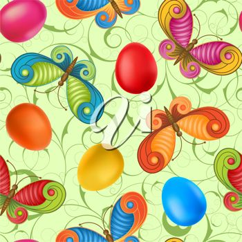 Floral clipart image of butterflies and Easter eggs.