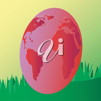 Image of a giant Earth-shaped Easter Egg with grass behind it.