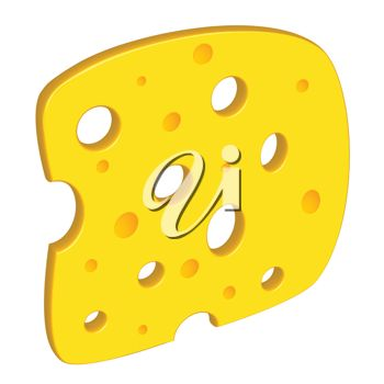 3d clipart image of a slice of swiss cheese.
